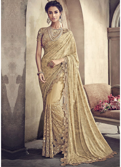 Embroidered Lycra and Net Saree in Beige