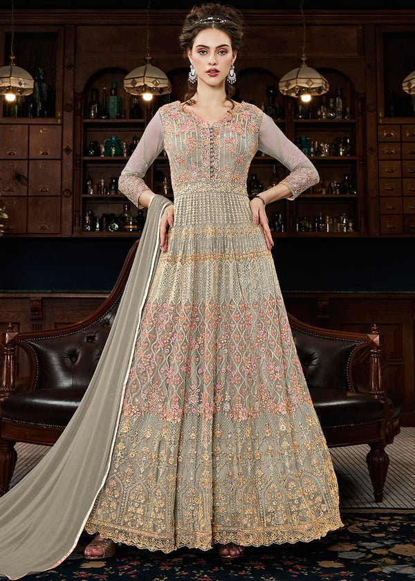 Embroidered Net Ankle Length Anarkali Suit in Fawn