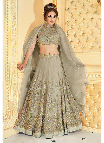 Grey Embroidered Georgette and Net Lehenga