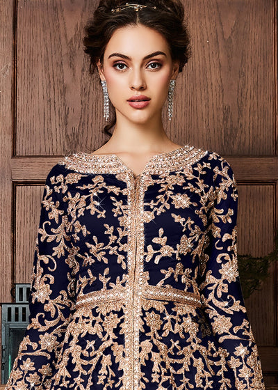 Embroidered Kurti Style Lehenga in Blue