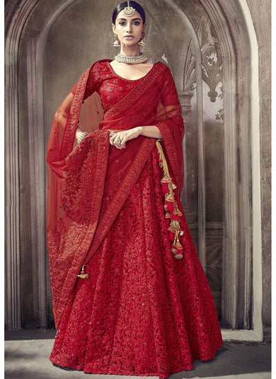 Embroidered Net Wedding Lehenga in Red