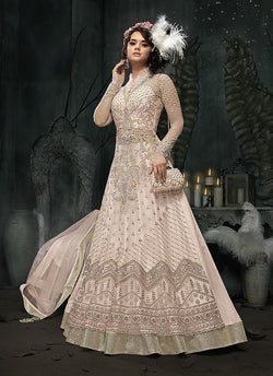Embroidered Net Designer Lehenga in Peach