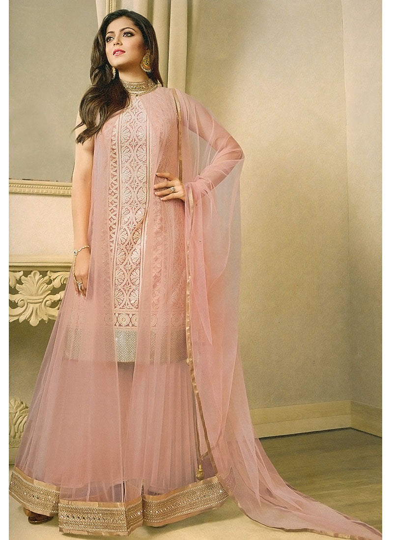 6cb667a3e4c Pink Embroidered Net Palazzo Suit - Haya Creations