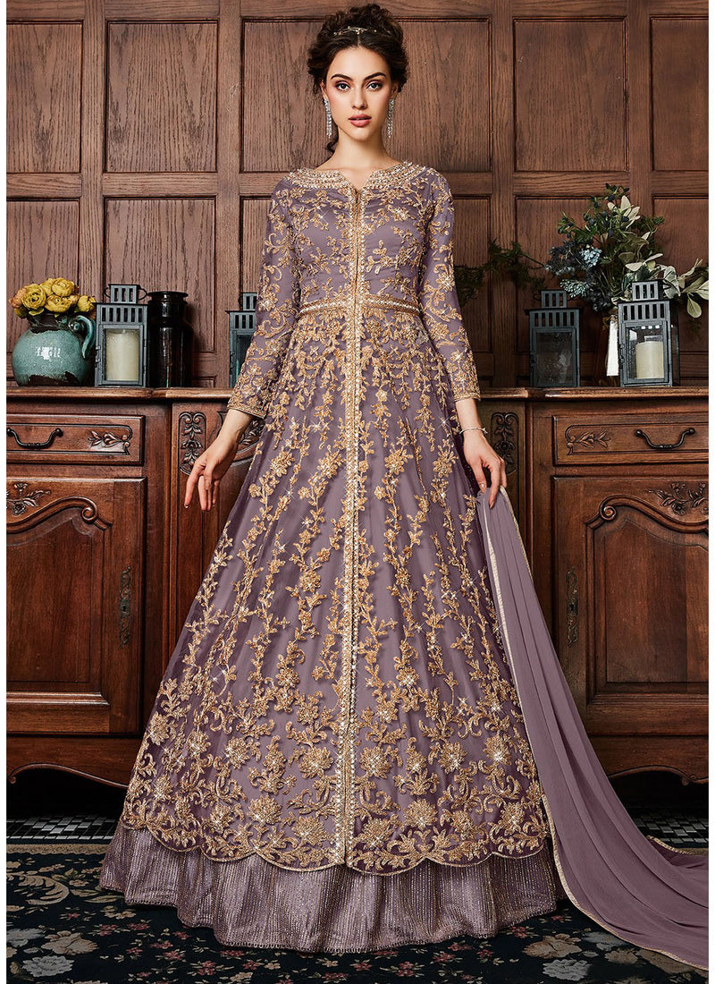 Embroidered Kurti Style Lehenga in Dusty Lilac