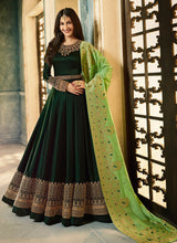Embroidered Satin Georgette Abaya Style Suit in Dark Green