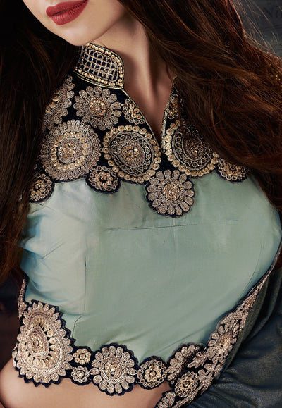 Taffeta Silk Designer Lehenga in Dusty Blue