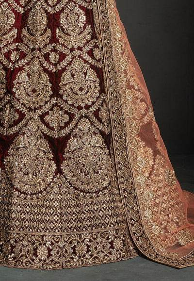 Embroidered Velvet Wedding Lehenga in Maroon
