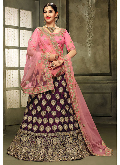 Embroidered Velvet Lehenga with Art Silk Square Neck Choli