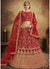 Embroidered Velvet Wedding Lehenga Choli in Red