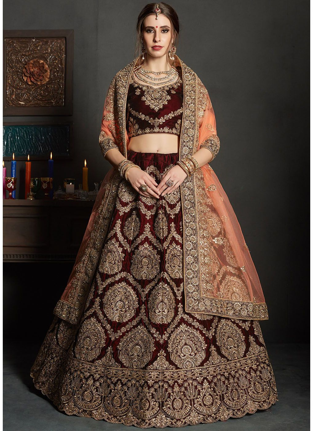 Embroidered Velvet Lehenga with Peach Net Dupatta