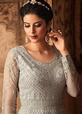 Net Embroidered Floor Touch Abaya Kameez in Grey