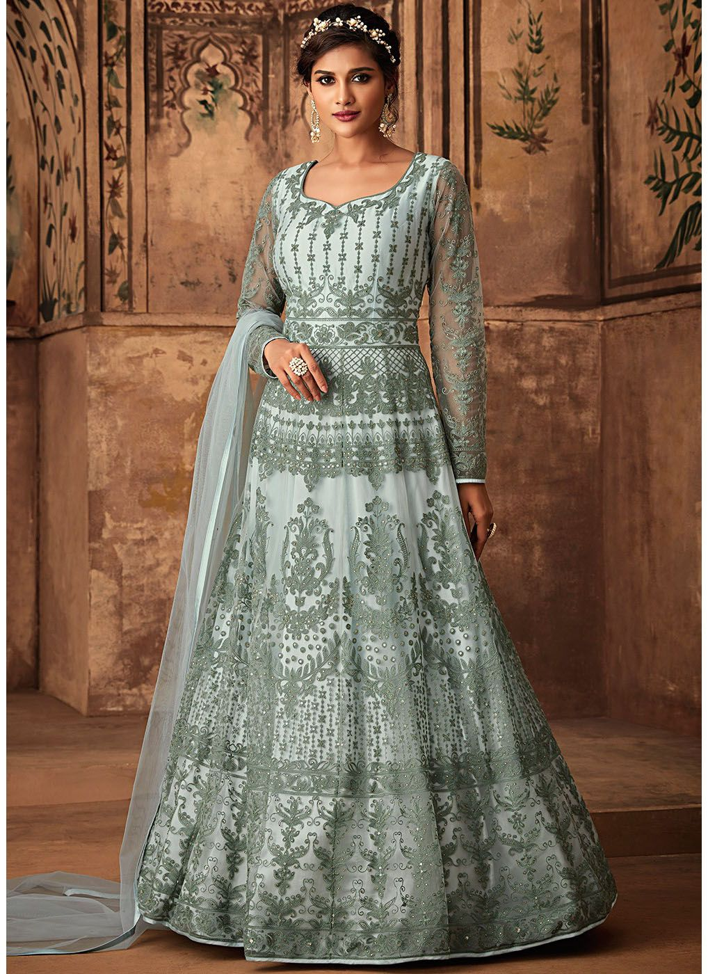 Net Embroidered Abaya Style Suit in Pastel Blue