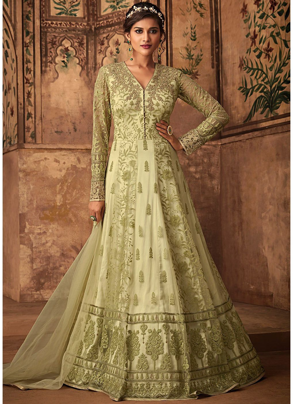 Full Sleeve Net Embroidered Abaya Style Suit in Pastel Green