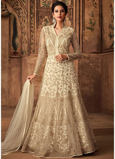Net Embroidered Floor Length Abaya Style Suit