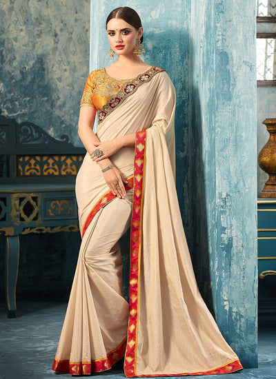 Gold and Cream Embroidered Silk Saree