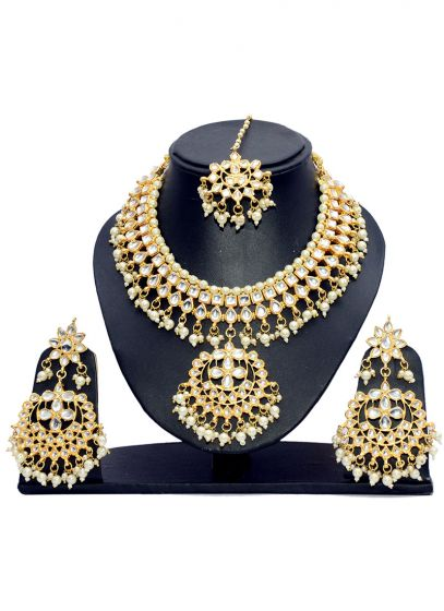Gold Plated Necklace Set with White Stones