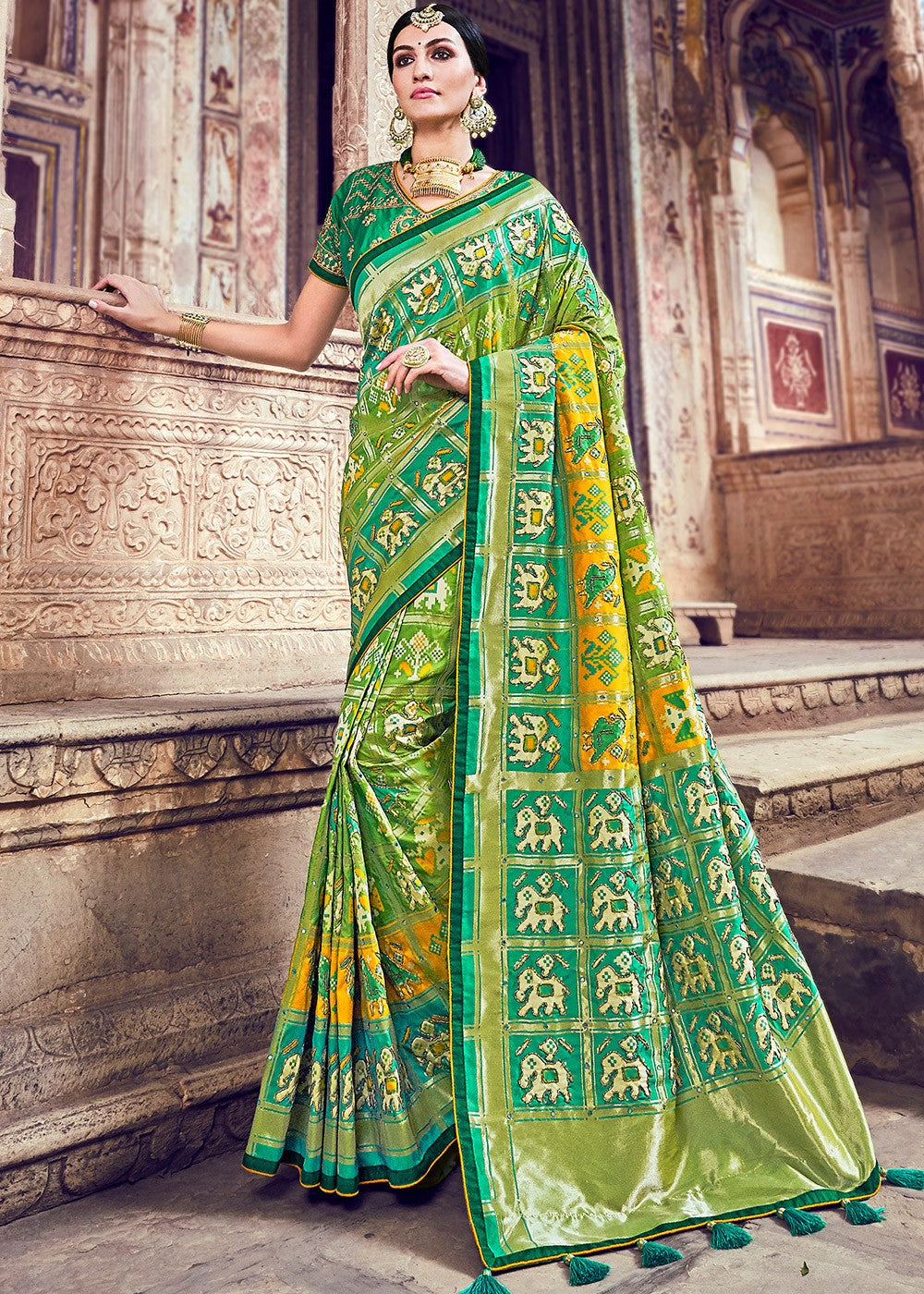 Woven Banarasi Silk Saree in Light Green