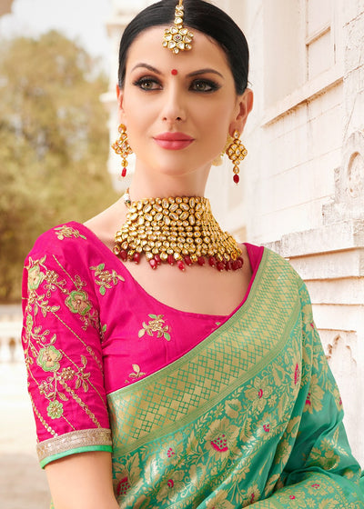 Green Banarasi Silk Saree with Art Silk Blouse