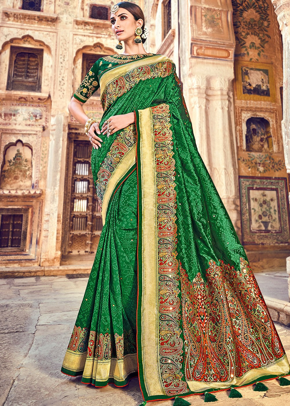 Woven Banarasi Silk Saree in Dark Green