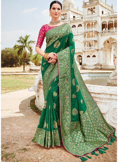 Green Banarasi Silk Woven Saree with Pink Blouse