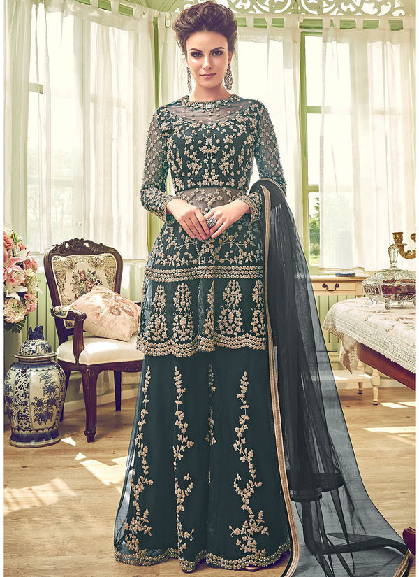 Green Embroidered Bridal Sharara Suit