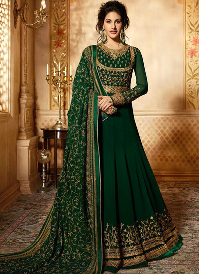 Dark Green Georgette Abaya Suit