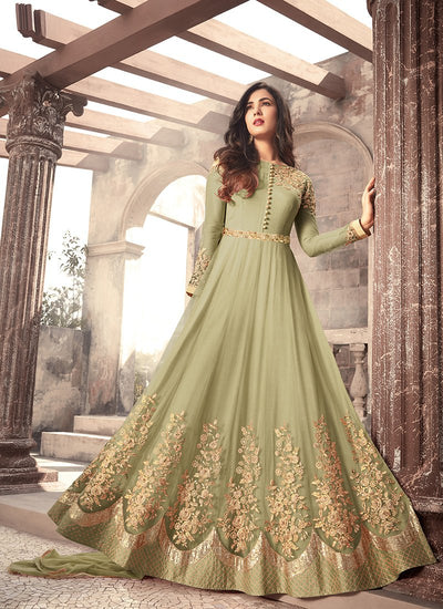 Net and Art Silk Abaya Style kameez in Green