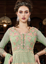 Embroidered Net Ankle Length Anarkali Suit in Light Green