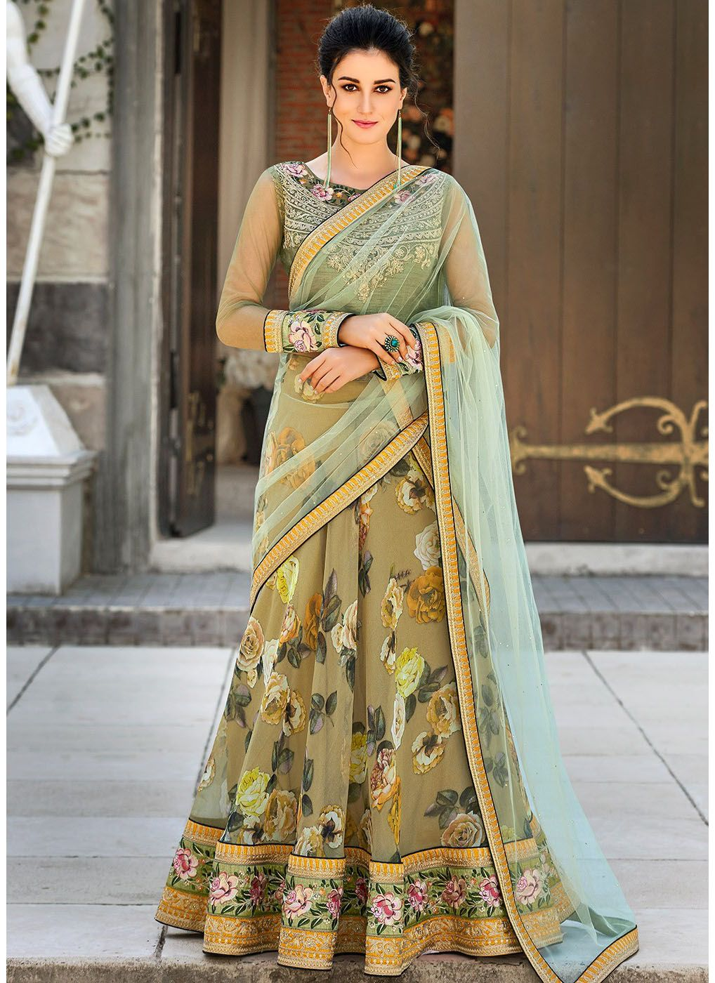 Digital Floral Printed Organza Lehenga in Olive Green