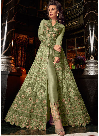 Front Slit Net Embroidered Pant Suit in Green