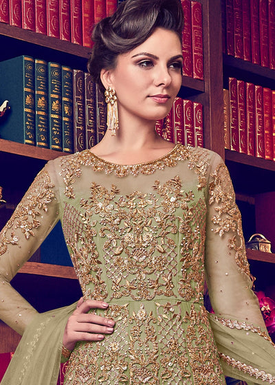 Green Embroidered Wedding Anarkali Suit