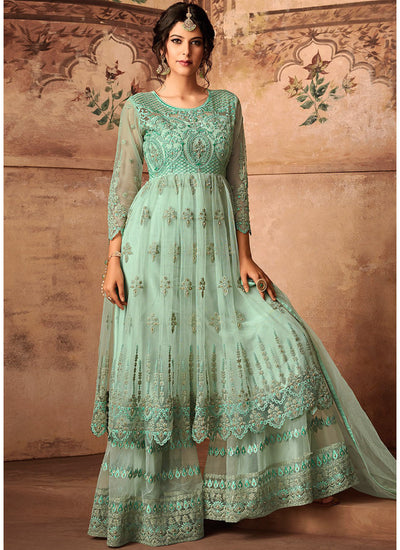 Green Net Embroidered Sharara Suit