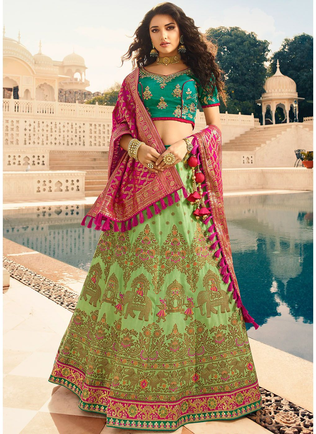 Woven Silk Jacquard Lehenga Choli in Green