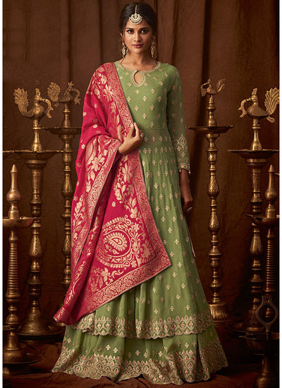 Green Georgette Embroidered Anarkali Lehenga