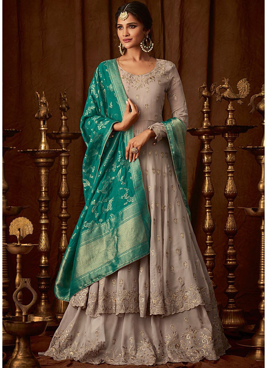 Grey Georgette Embroidered Anarkali Lehenga