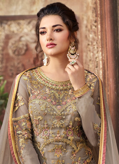 Embroidered Grey Kameez with Pink Bangalori Silk Lehenga