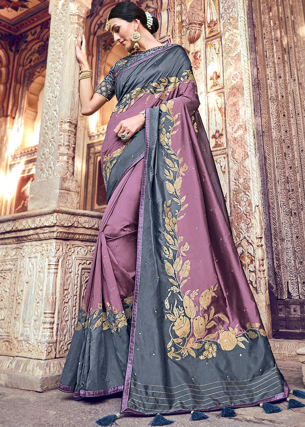 Woven Banarasi Silk Saree in Dusty Purple and Grey