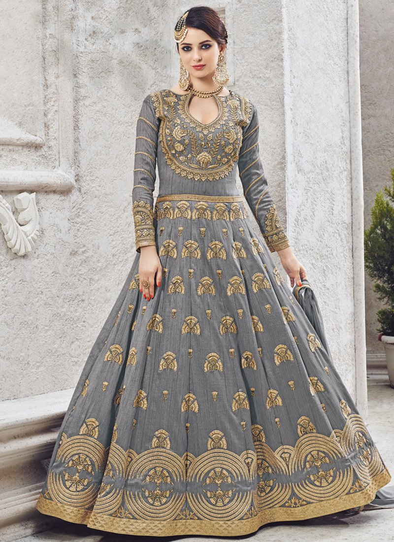 Embroidered Art Silk Abaya Style Suit in Grey
