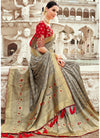 Grey Banarasi Silk Saree with Red Blouse