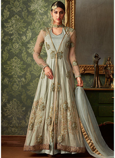 Embroidered Jacket Style Anarkali Suit