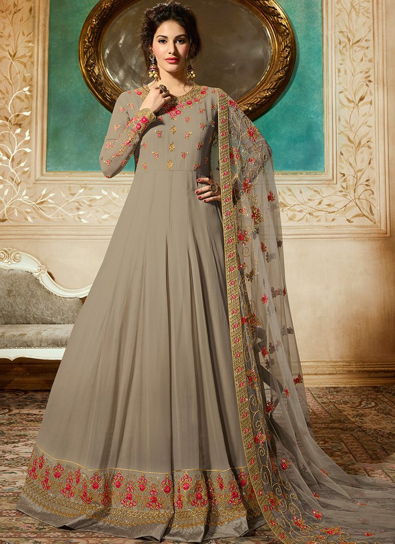 Light Grey Embroidered Abaya Suit