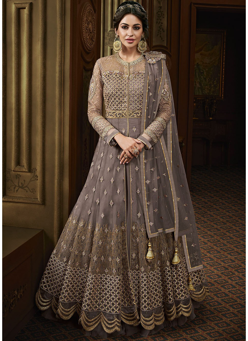 Grey Front Slit Embroidered Abaya Style Lehenga