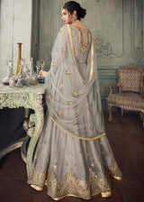 Full Sleeve Embroidered Lehenga Style Anarkali in Grey