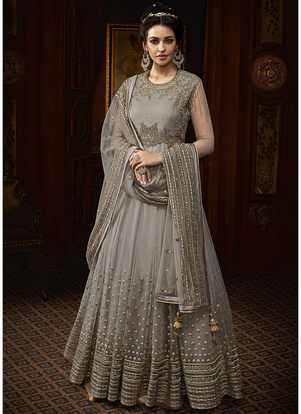 Embroidered Round Neck Abaya Suit in Grey