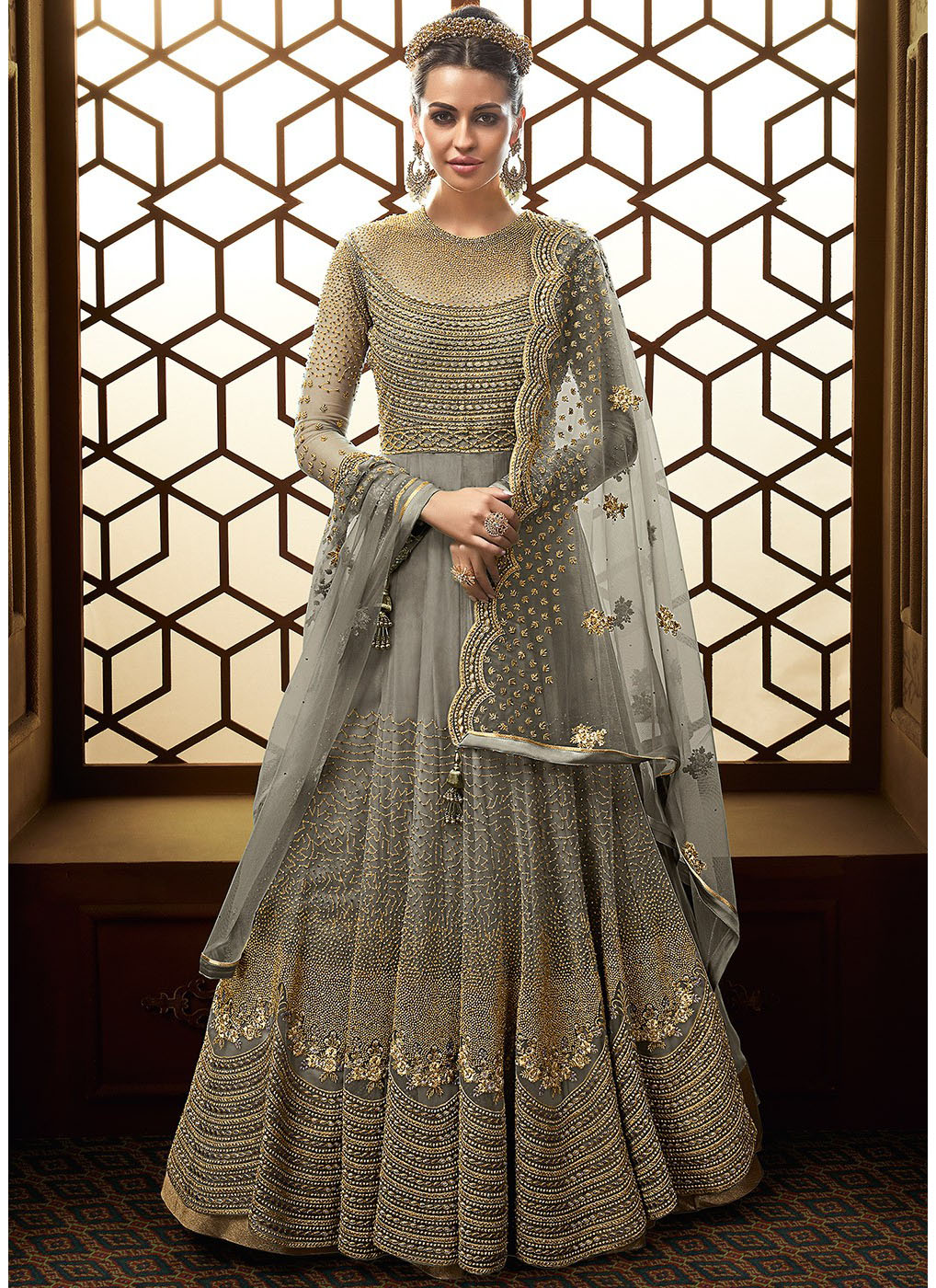 5cdbff5d6b6 Floor Touch Embroidered Anarkali in Grey