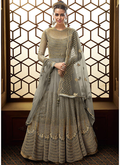 Floor Touch Embroidered Anarkali in Grey