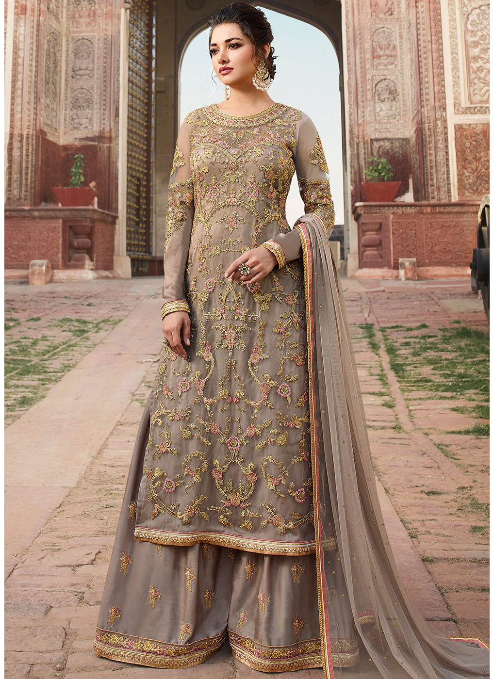 959aff403 Embroidered Net Palazzo Suit in Fawn - Haya Creations