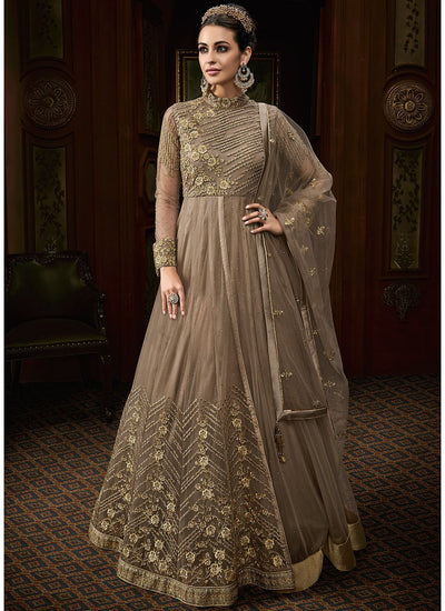 High Neck Floor Length Abaya Style Suit