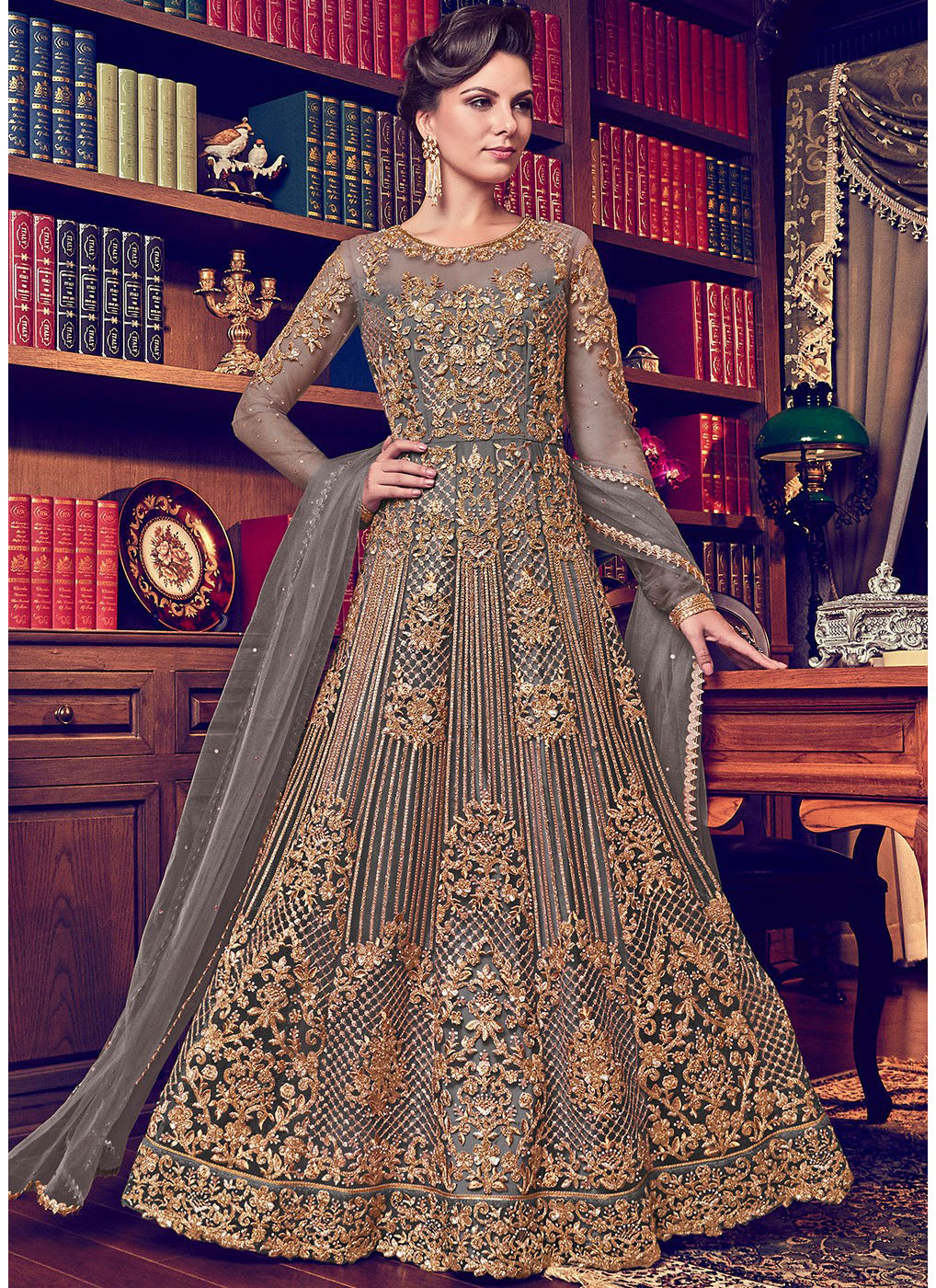 Grey Net Heavy Embroidered Anarkali Dress