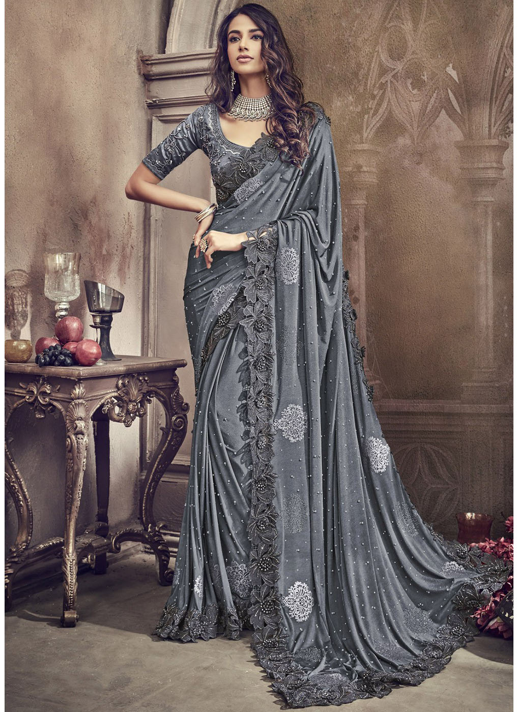 Embroidered Lycra Saree in Grey